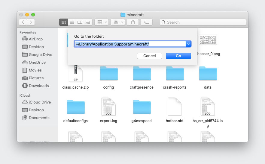 Screenshot of Finder Go menu