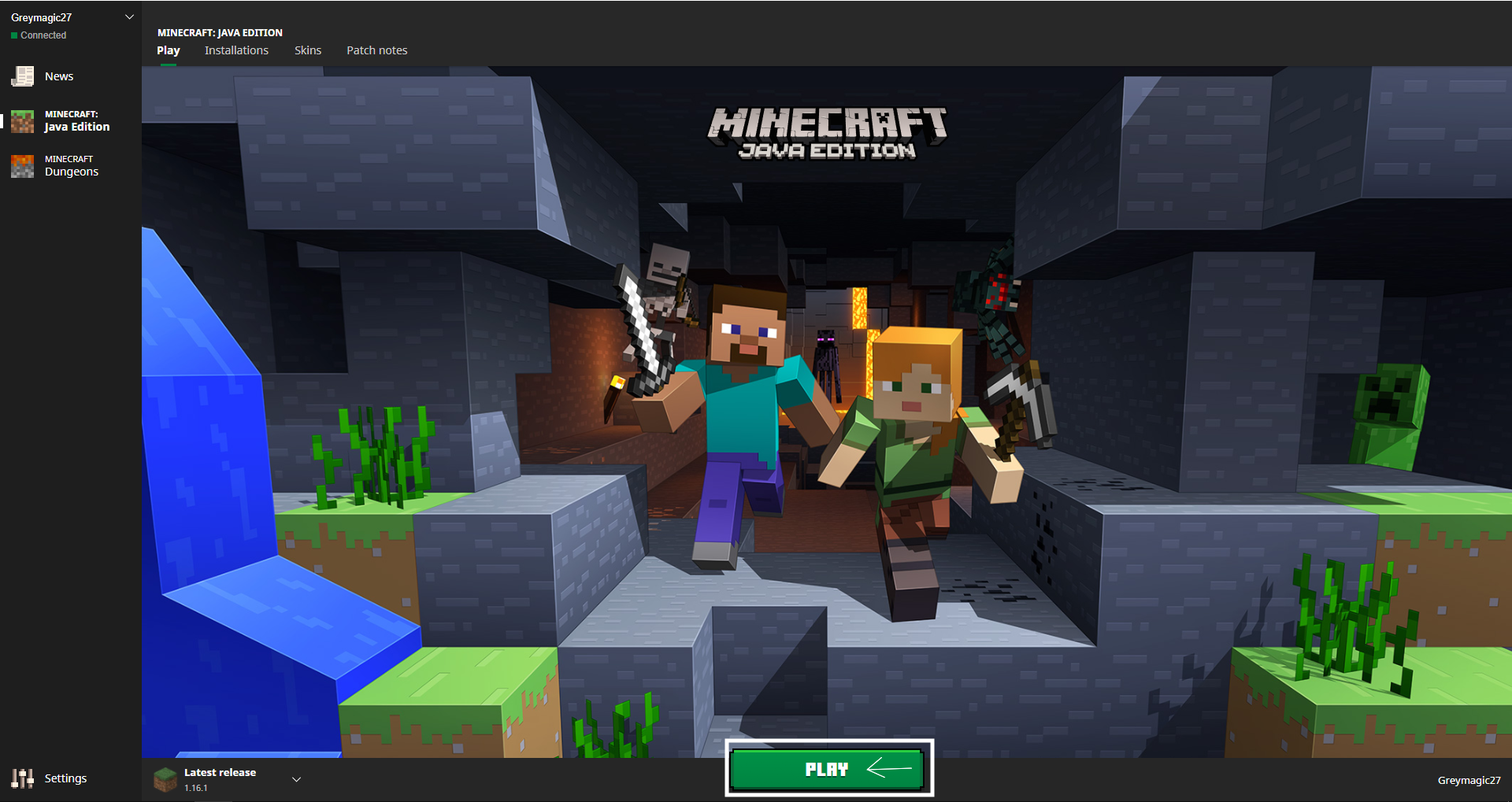Minecraft launcher showing Play button